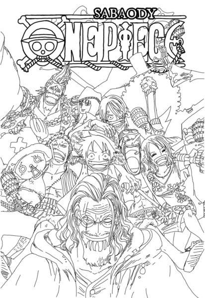 Tranh vẽ đen trắng One Piece cho bé tô màu (4)