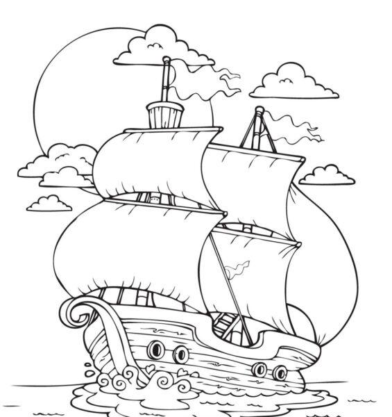 Tranh vẽ đen trắng tàu thuỷ cho bé tập tô (1)