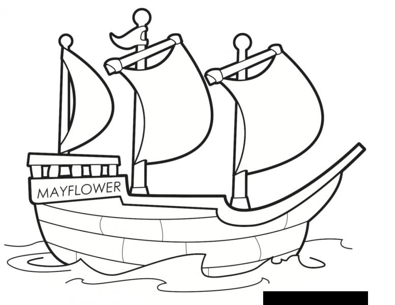 Tranh vẽ đen trắng tàu thuỷ cho bé tập tô (2)