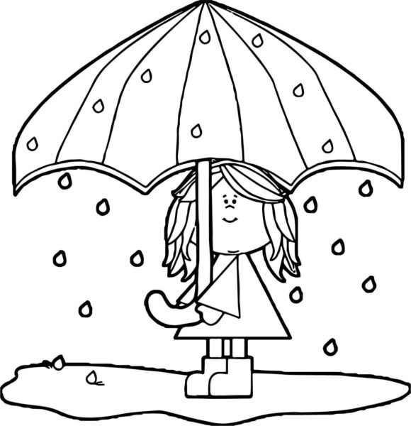 umbrella coloring pages for kids Best of April Shower Girl Umbrella Coloring Page