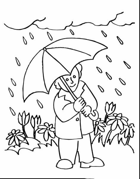 Tranh vẽ đen trắng trời mưa cho bé tô màu (5)