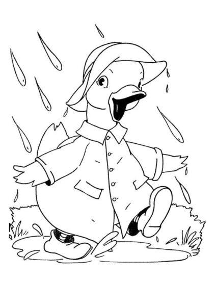 Tranh vẽ đen trắng trời mưa cho bé tô màu (6)