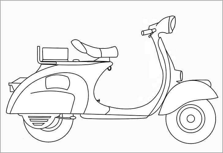 Tranh vẽ đen trắng xe máy cho bé tô màu (2)