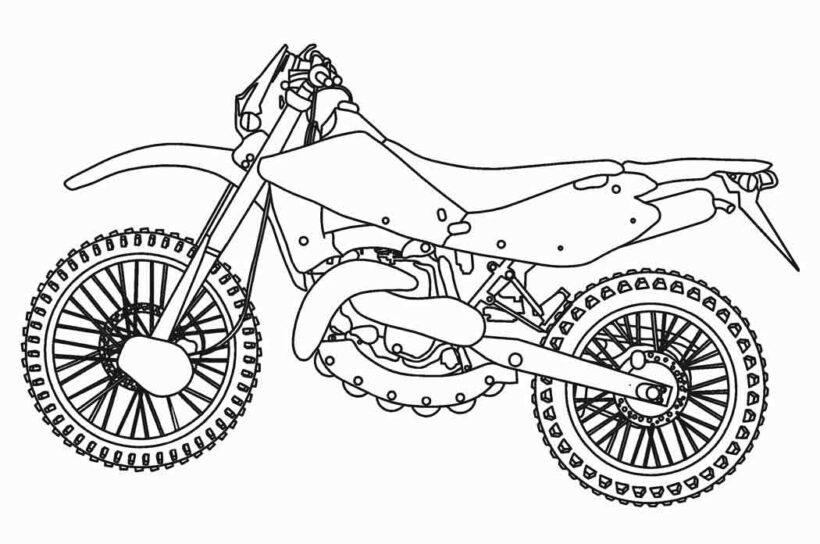 Tranh vẽ đen trắng xe máy cho bé tô màu (3)