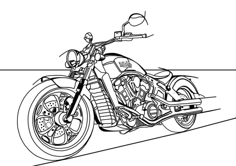 Tranh vẽ đen trắng xe máy cho bé tô màu (5)