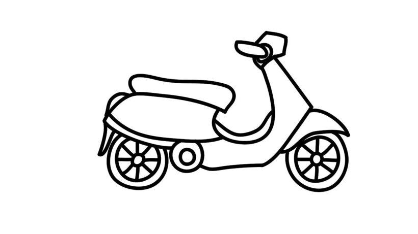 Tranh vẽ xe máy đơn giản