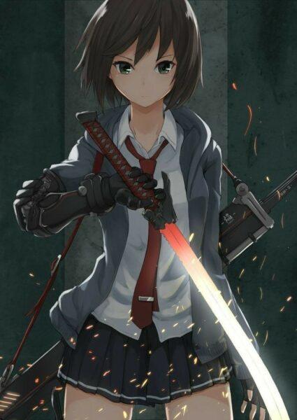 Ảnh anime nữ sinh cầm kiếm cực ngầu