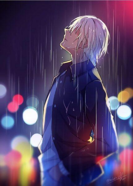 Hình ảnh anime cô đơn dưới mưa