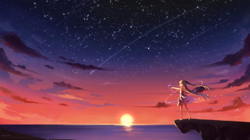 Hình ảnh anime cô đơn giữa không gian rộng lớn