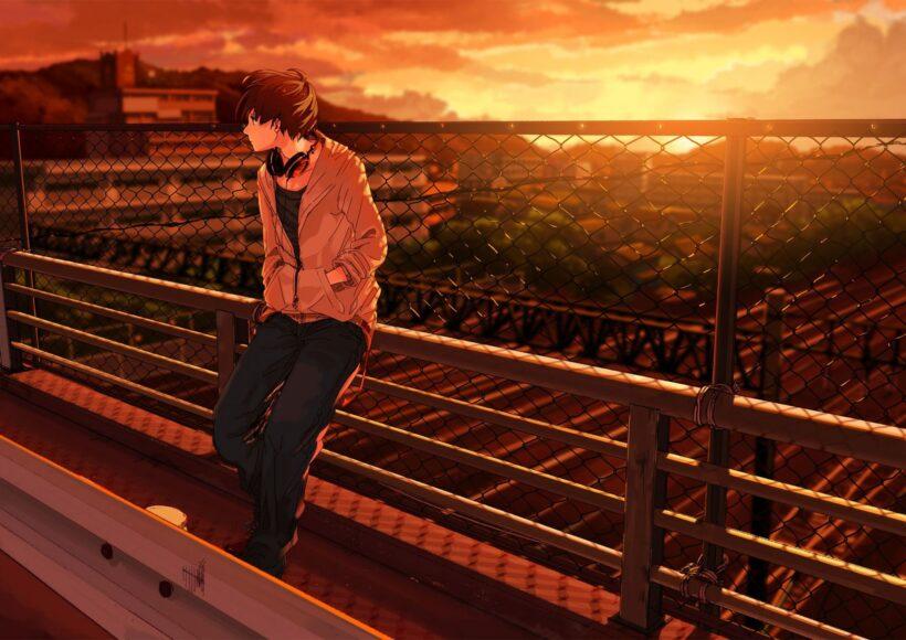 Hình ảnh anime cô đơn một mình trên cầu