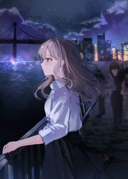 Hình ảnh anime cô đơn ngắm nhìn biến