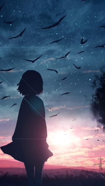 Hình ảnh anime cô đơn ngắm nhìn hoàng hôn