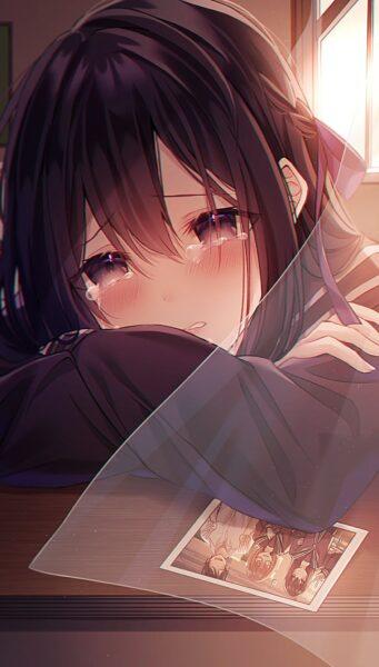 hình ảnh anime cô đơn nữ buồn muốn khóc