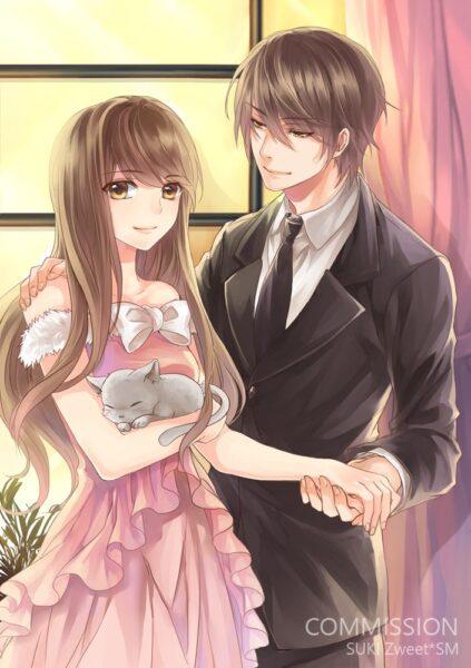 Hình ảnh Anime đôi bên nhau tình cảm