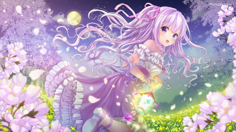 Hình ảnh anime girl tóc tím mộng mơ