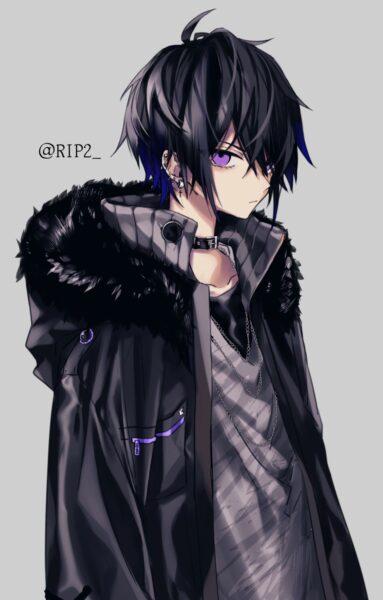 hình ảnh anime lạnh lùng nam cá tính mắt tím