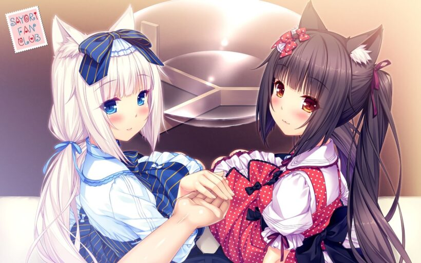 Hình ảnh anime mèo 2 chị em dễ thương