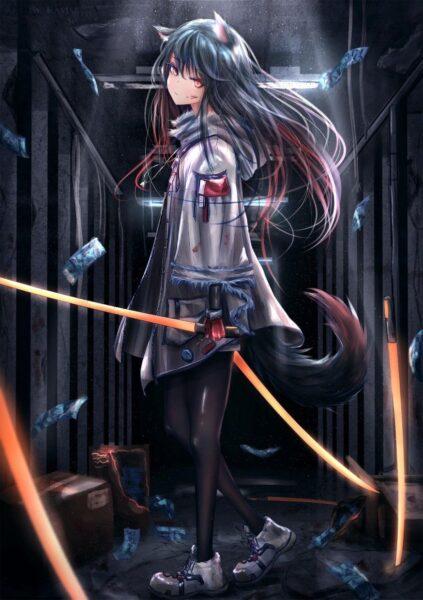 hình ảnh anime mèo chất ngầu cầm kiếm