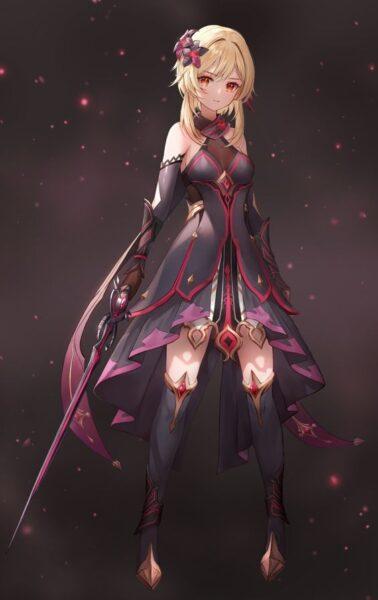 hình ảnh anime nữ ngầu cute cầm kiếm