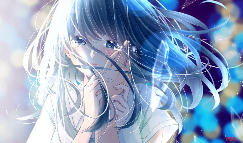 hình ảnh anime tóc xanh đẹp buồn
