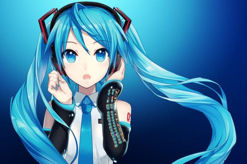 Hình ảnh anime tóc xanh quyến rũ