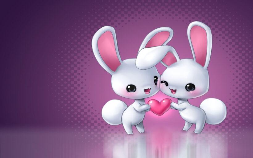 Hình ảnh hoạt hình 2 chú thỏ trắng đẹp, dễ thương