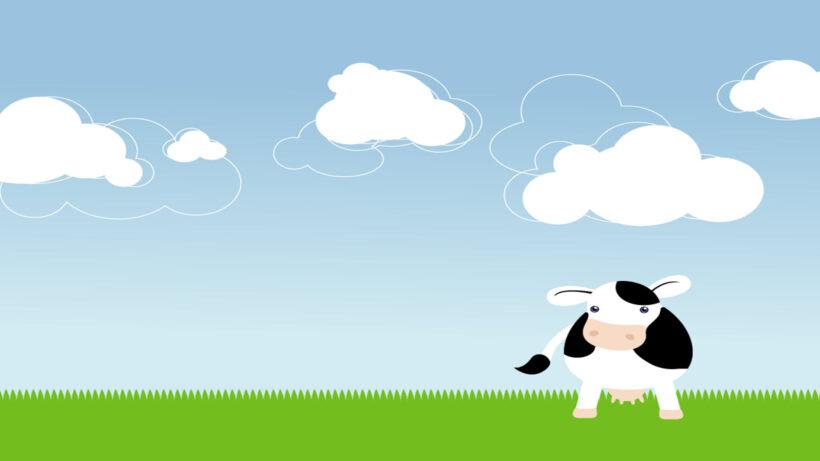 Hình ảnh nền hoạt hình bò sữa đẹp, dễ thương
