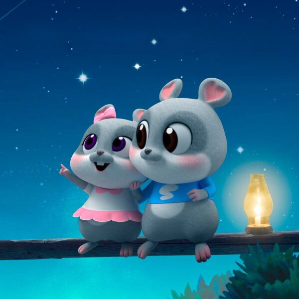 Hình ảnh nền hoạt hình hai chú sóc dễ thương, đẹp