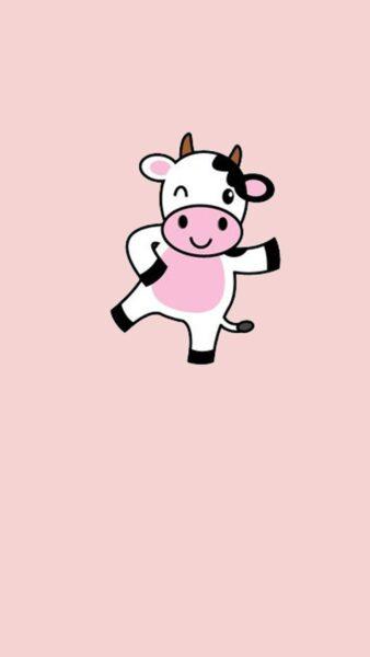 Hình nền bò sữa màu hồng dễ thương