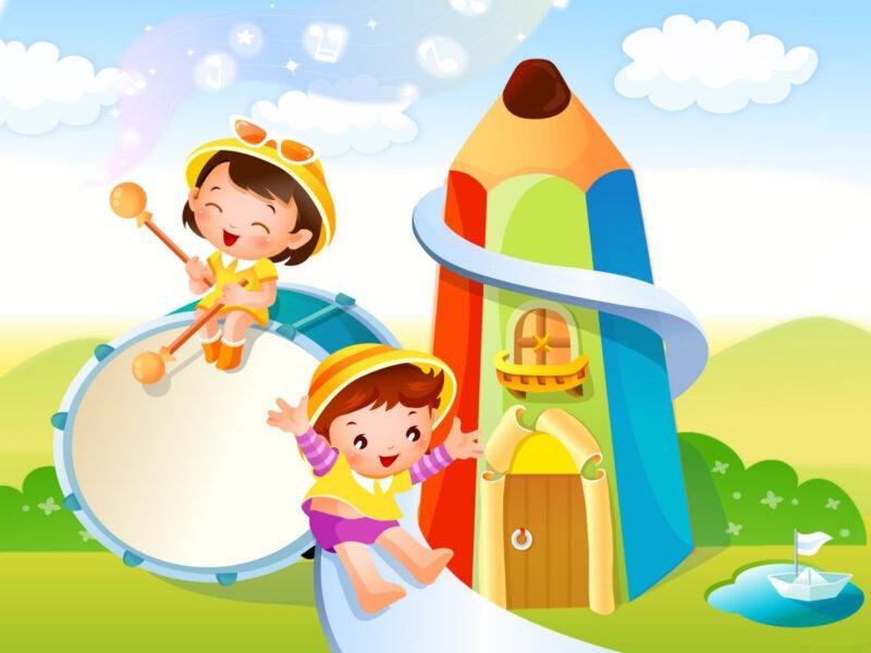 Hình nền hoạt hình hai em bé đang chơi cầu trượt đẹp, dễ thương