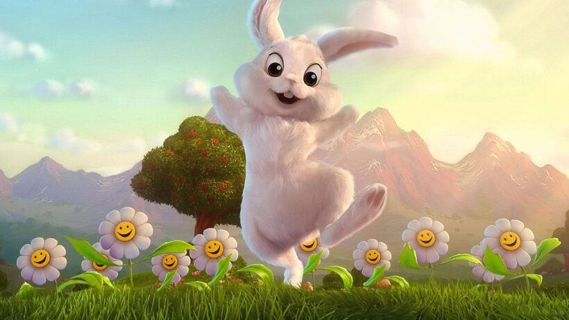 Hình nền hoạt hình thỏ trắng đẹp, dễ thương