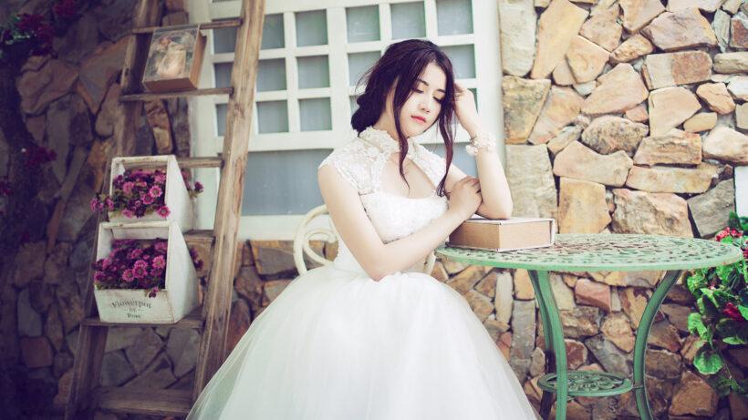 Hình nền hot girl mặc váy cưới cho máy tính