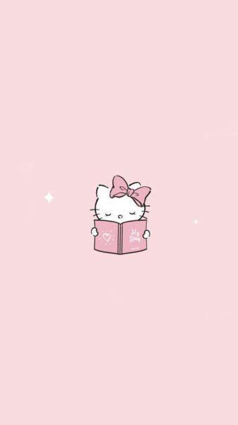 hình nền màu hồng kitty nhạt