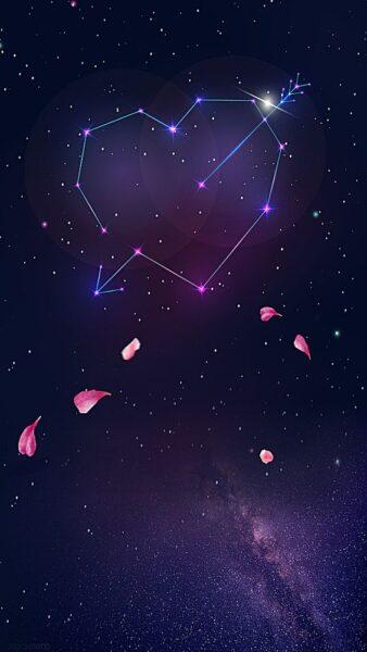 hình nền trái tim đẹp cho điện thoại về vũ trụ và dải ngân hà