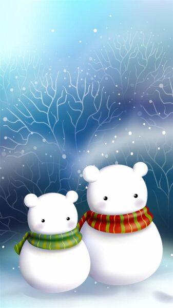 Hình nền zalo đẹp, hình 2 người tuyết