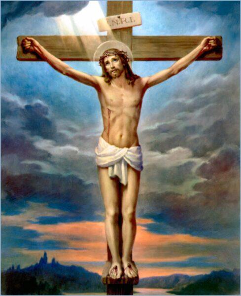 Ảnh chúa bị đóng đinh trên cây thánh giá và đang được chiếu sáng