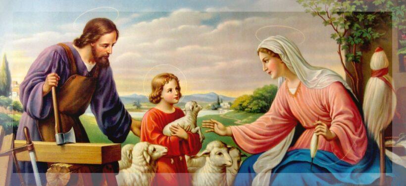 Ảnh Chúa Giesu bế con cừu bên cha và mẹ của người