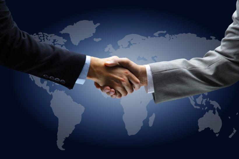 ảnh nền bắt tay hợp tác kinh doanh toàn cầu