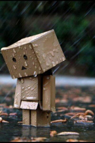 Ảnh người gỗ buồn dưới mưa