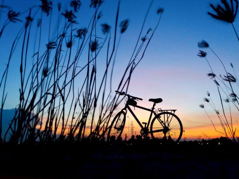 ảnh xe đạp dưới ánh hoàng hôn