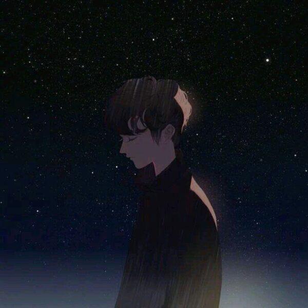 Avatar cặp đen anime nam buồn nhớ ngưới yêu