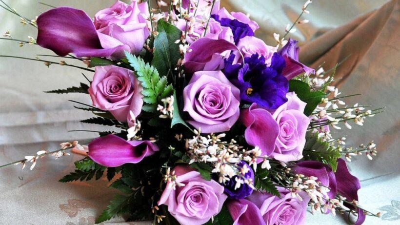Giỏ hoa hồng tím đẹp