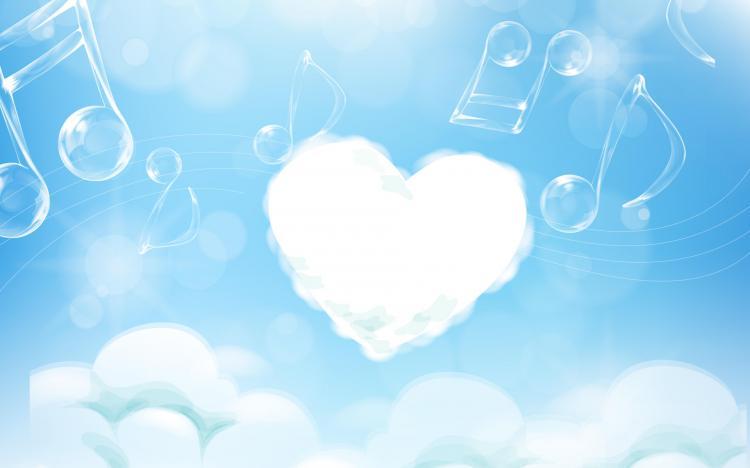 Hình ảnh âm nhạc và trái tim mây trắng