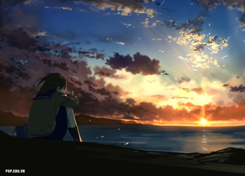 hình ảnh anime cô đơn nữ cho con gái