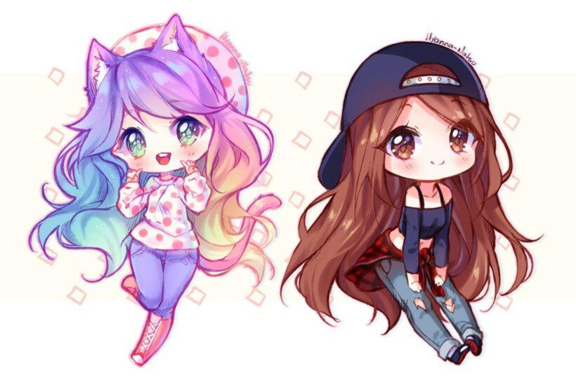 Hình ảnh avatar bff đôi bạn thân nữ anime dễ thương