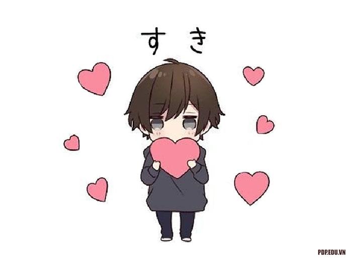 hình ảnh avatar dễ thương chibi nam buồn và trái tim