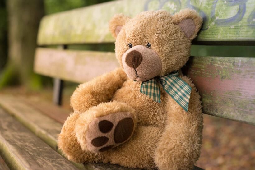 hình ảnh gấu bông đẹp ngồi trên băng ghế