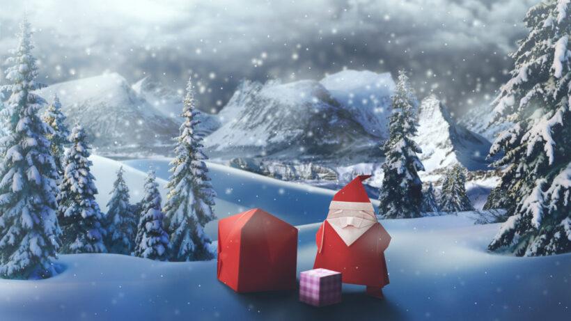 Hình ảnh ông già Noel bằng giấy gấp