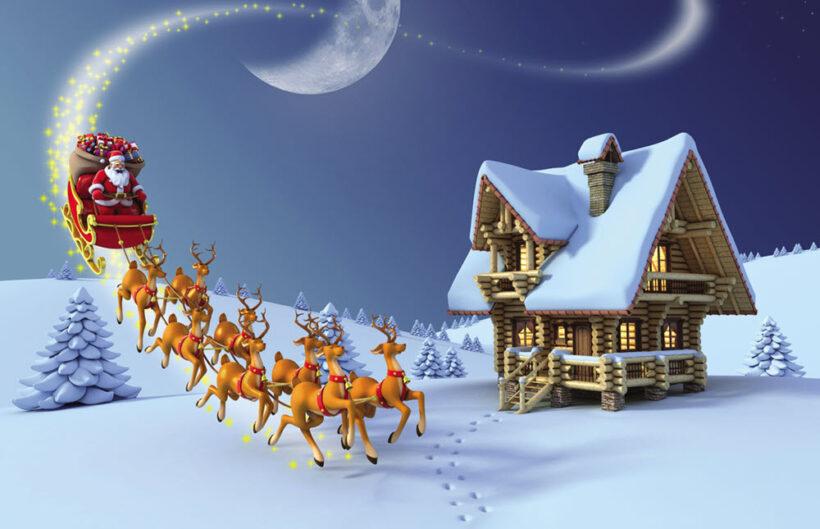 Hình ảnh ông già Noel cưỡi tuần lộc đi tặng quà