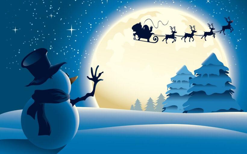 Hình ảnh ông già Noel cưỡi xe bay trên không trung